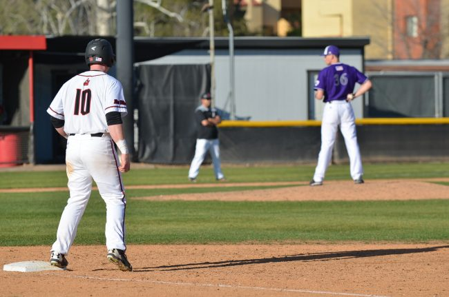 CSUN player guards first base