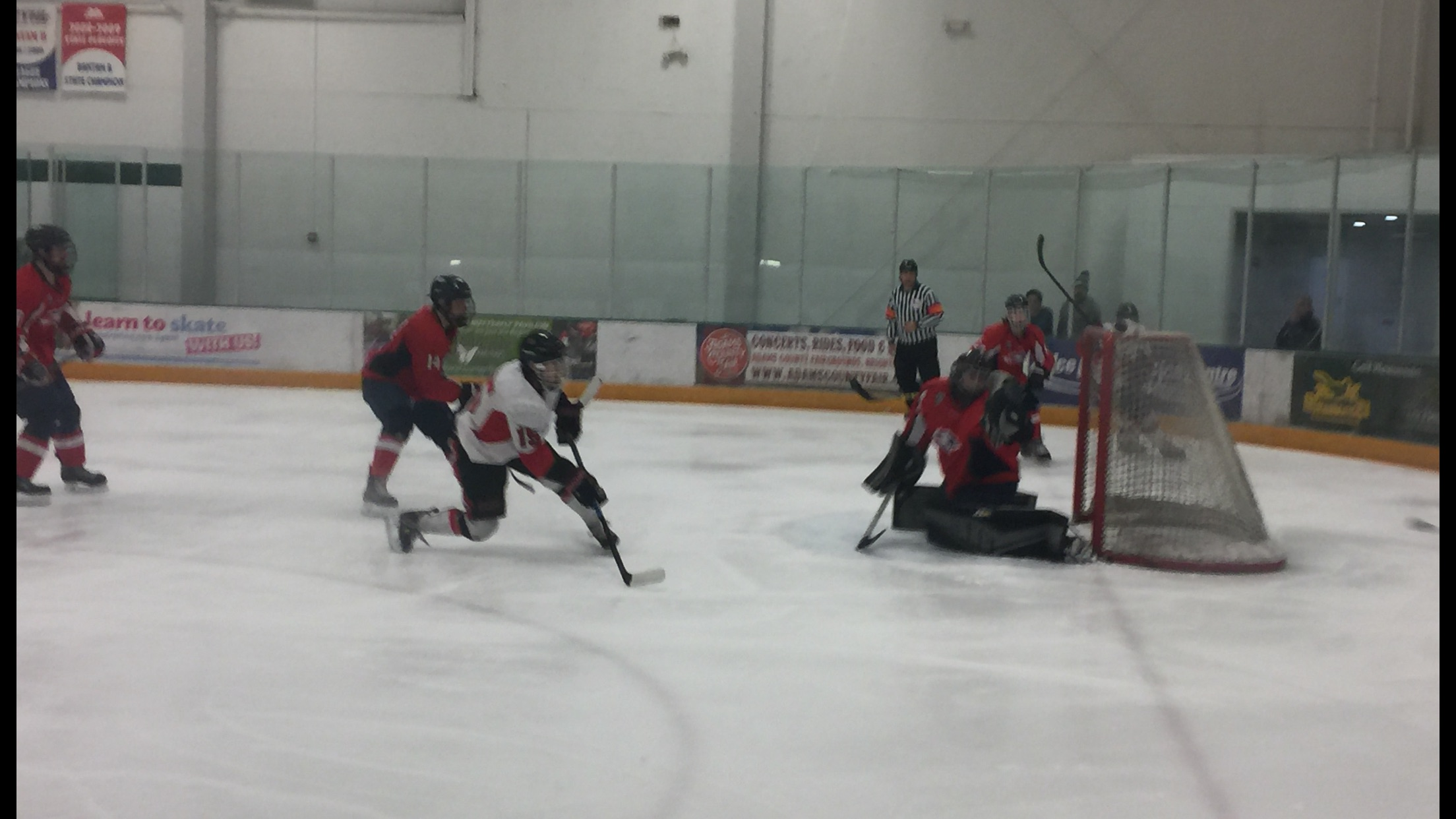 Quentin Abaya (15) gets a shot on goal but clanked off the pipe denying the Matadors a goal and the lead Thursday afternoon at the Ice Centre at the Promenade in Westminster, CO. Photo credit: Solomon Ladvienka