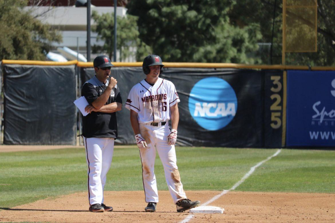 csun player pictured on third base