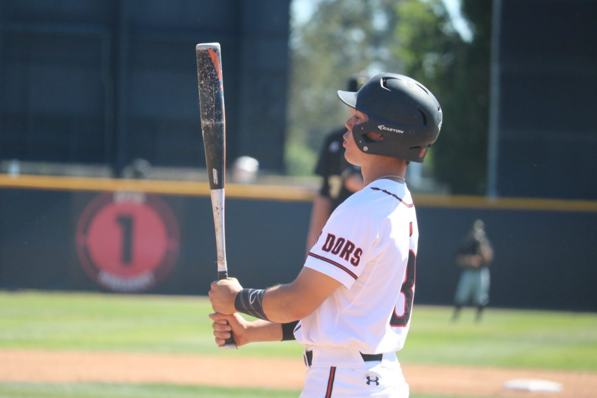 csun+baseball+player+looks+at+his+bat