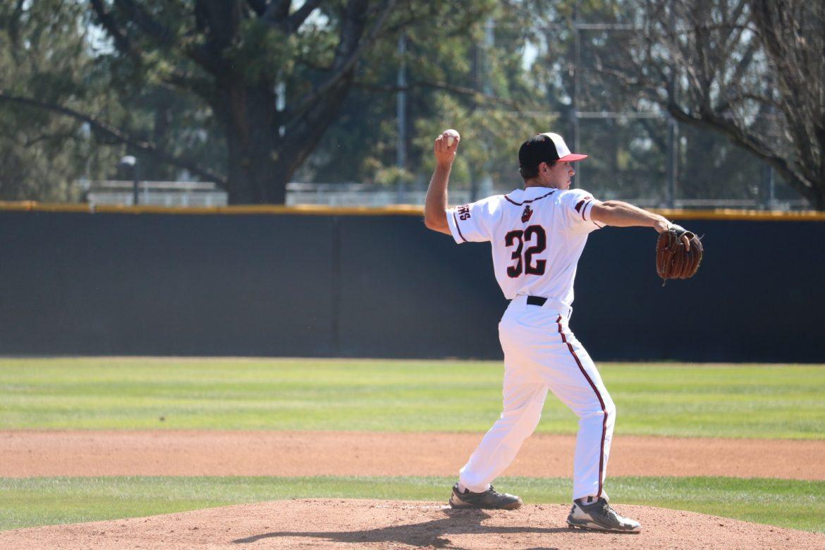 CSUN%E2%80%99s+sophomore+left+handed+pitcher%2C+Joey+Deceglie%2C+throws+to+first+base+and+gets+the+third+out+for+the+Matadors%2C+at+the+Matador+Field%2C+on+Monday%2C+March+13.+Photo+credit%3A+Lauren+Valencia%2F+The+Sundial