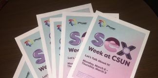 photo shows flyers for Sex Week at CSUN