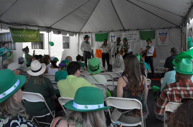 Mariachi group performs for a large crowd on Saint Paddy's day