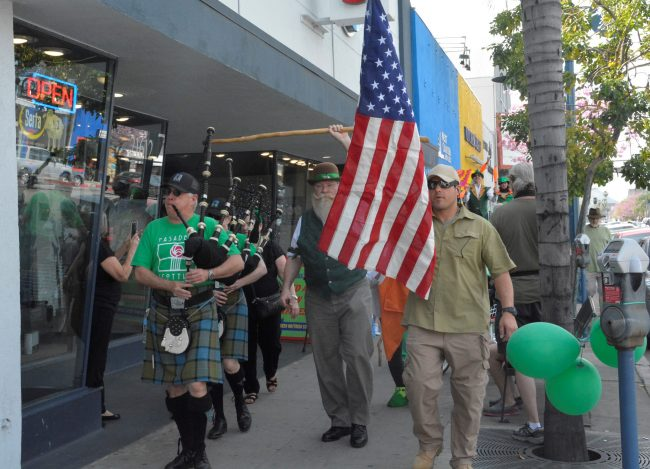 People participate in Saint Paddy's day march