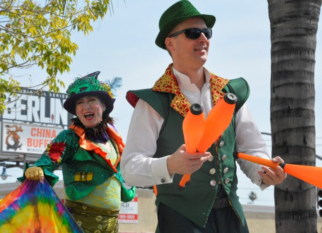 Performers dance and juggle for St. Patrick's day