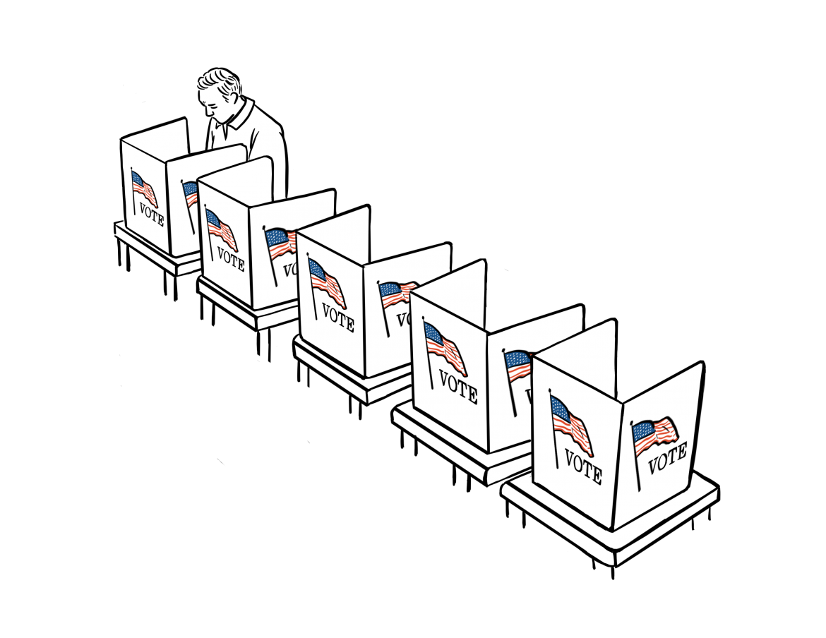 Illustration+shows+5+voting+booths+and+a+man+is+inside+one+of+them