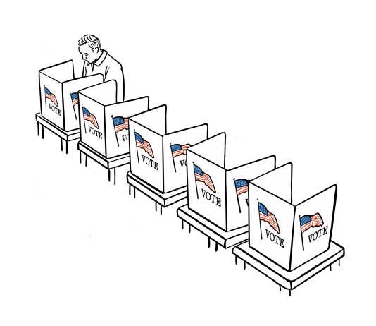 Illustration shows 5 voting booths and a man is inside one of them