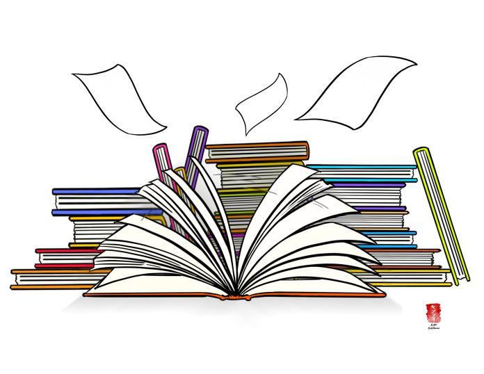 illustration shows many books stacked behind an opened book