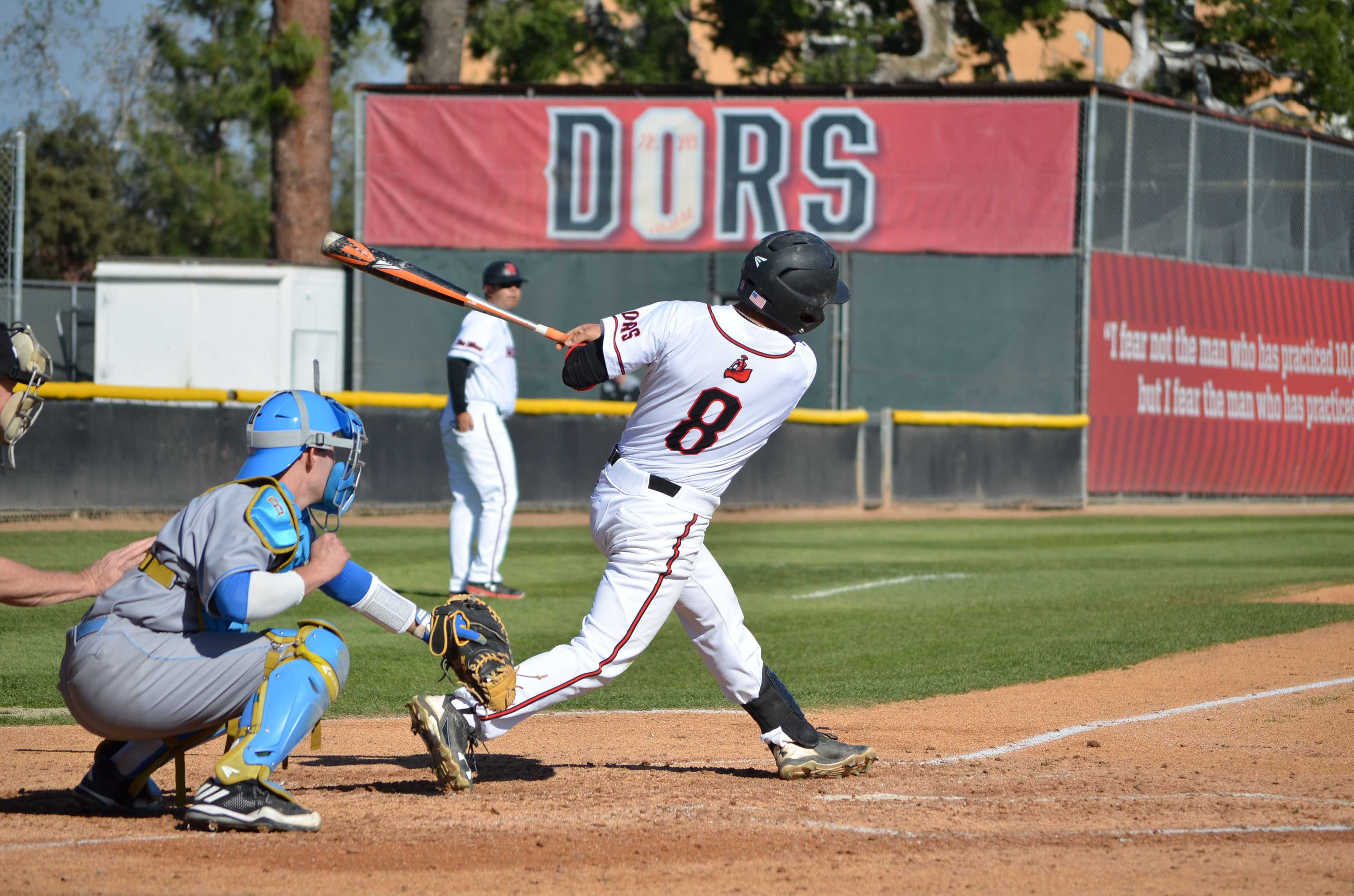 Senior shortstop Fred Smith, #8, grounds out to third base in the third inning against UCLA on Tuesday, Feb. 28, 2017. Smith went on to hit a home run during the sixth inning. Photo credit: Anthony Martinez