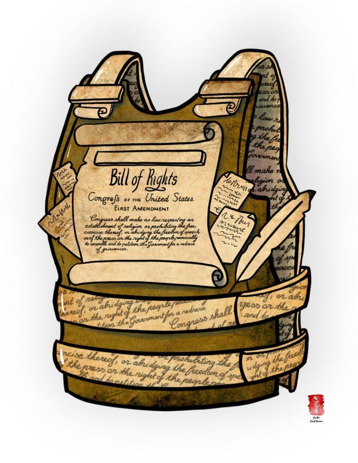 illustration shows bill of rights vest