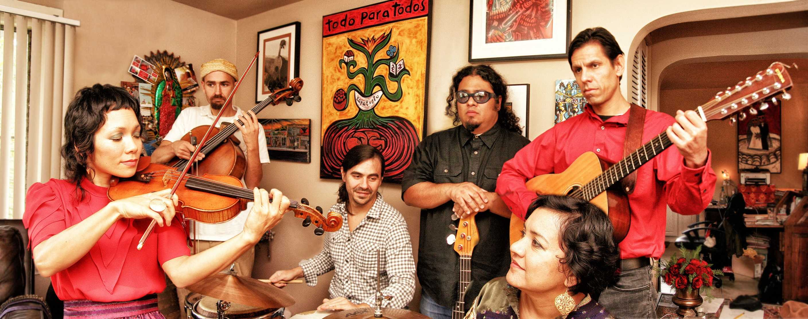 Band members of Quetzal. From left to right: Tylana Enomoto, Quincy McCray, Alberto Lopez, Juan Perez, Quetzal Flores, and Martha Gonzalez. Photo courtesy of The Music Joint Group.