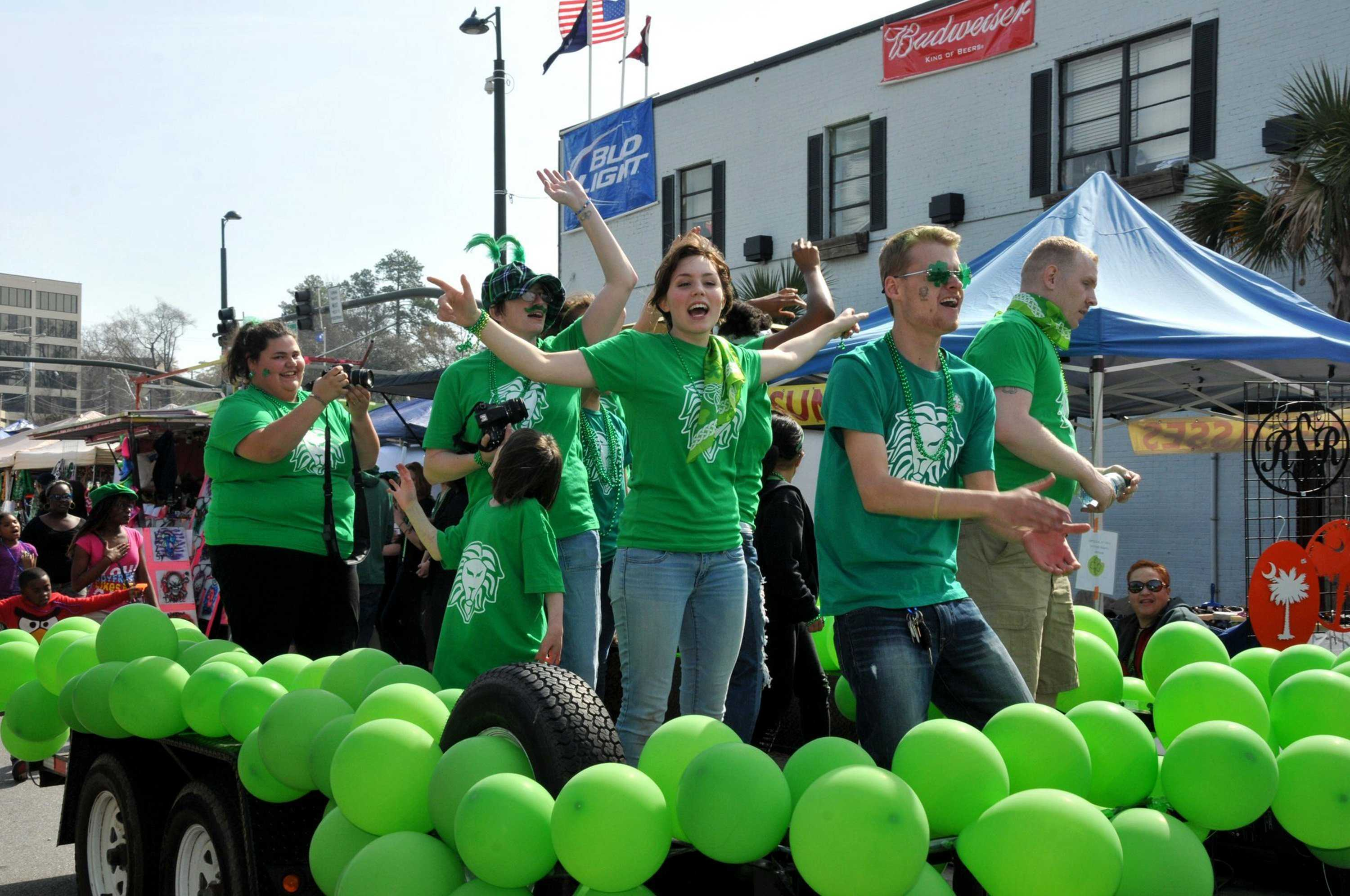A church group called Decided sings from the float during a St. Patrick's Day parade in Columbia, S.C., Saturday, March 15, 2014. (Rob Thompson/The State/MCT)