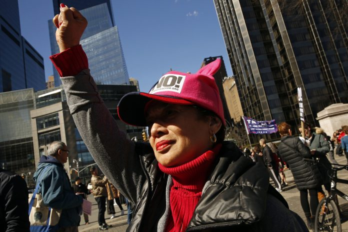 people protest of women's rights on international women's day in New York