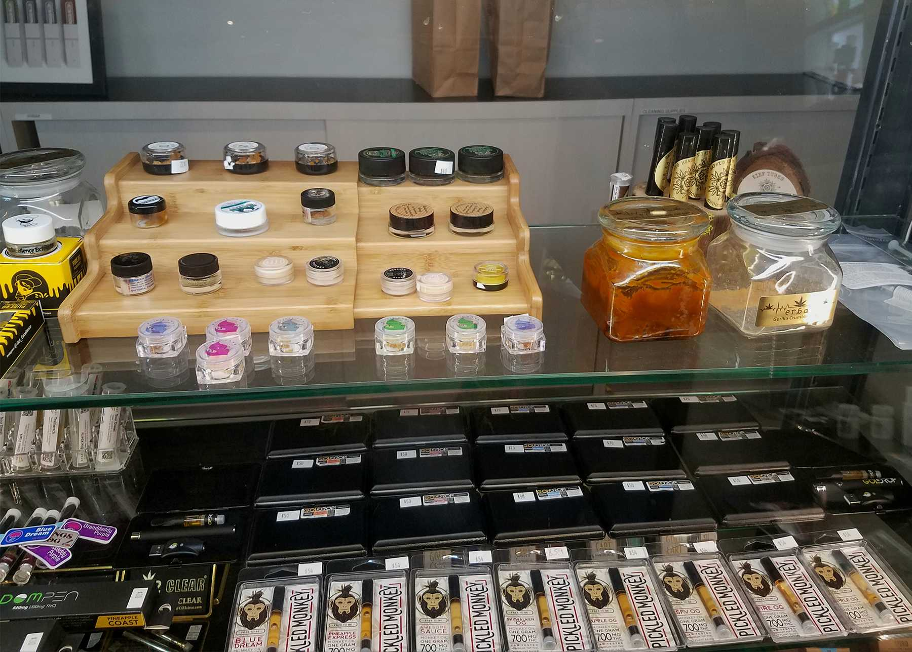 A display of cannabis products at Erba Collective in Santa Monica, Calif. Photo credit: Tera Trujillo