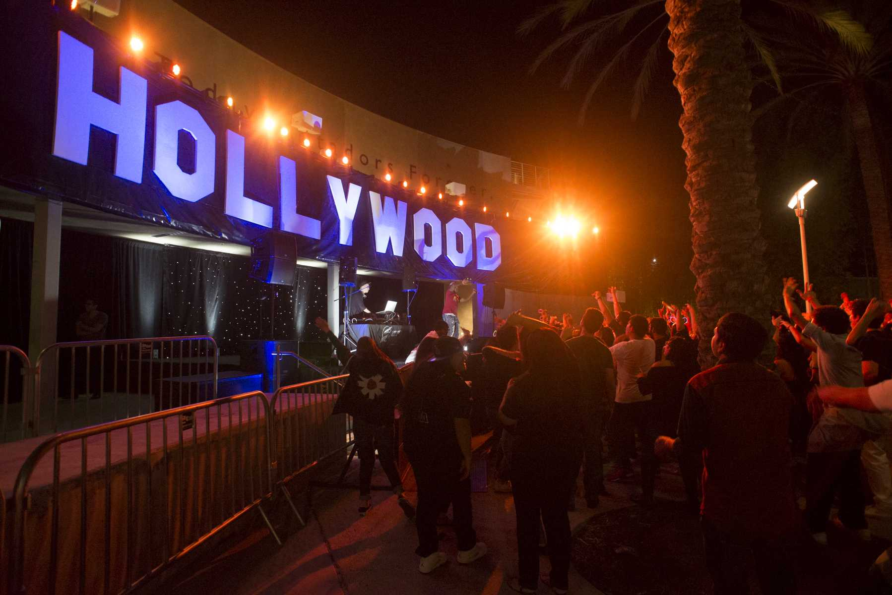 Hollywood sign in the Plasa Del Sol during matador nights on the main event with a DJ playing dancing music for the crowd Photo credit: Alejandro Aranda