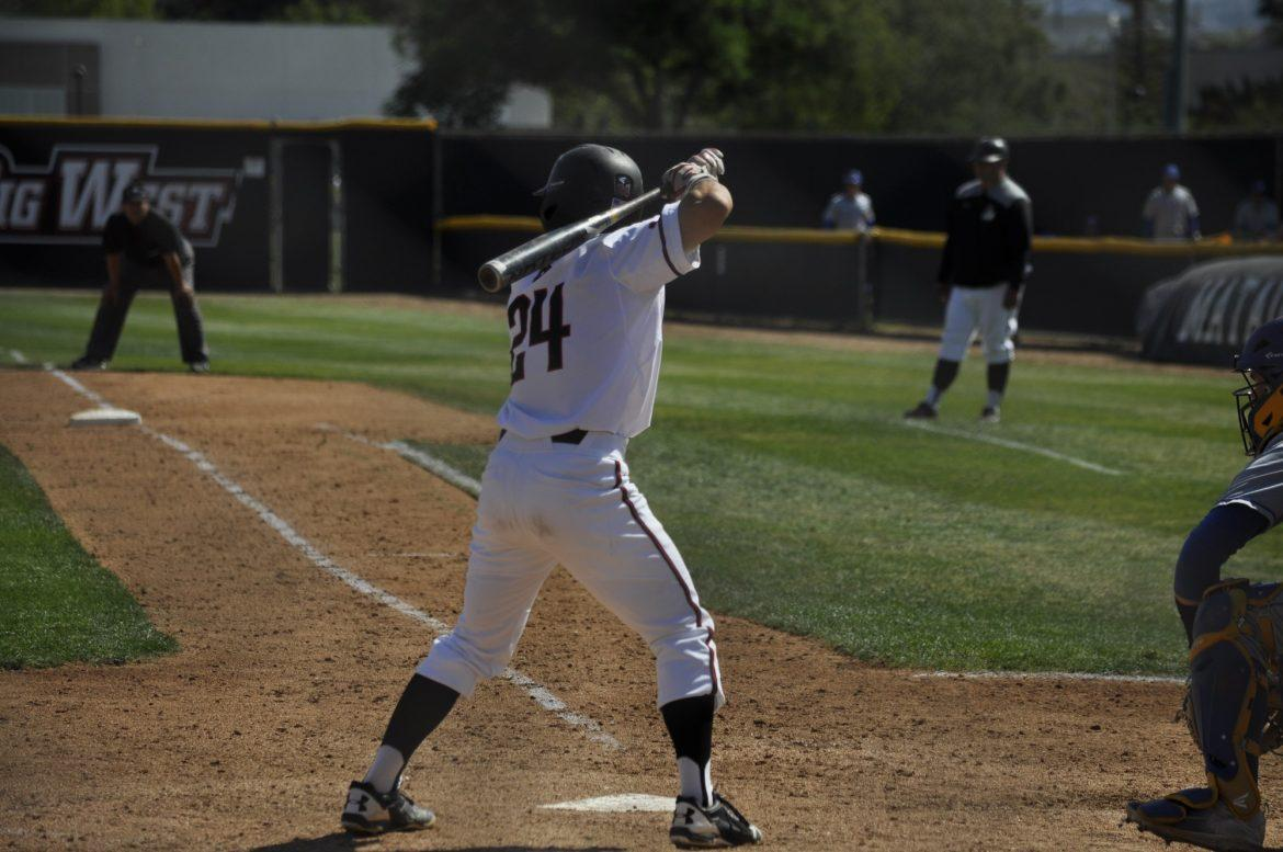 CSUN+Junior+Alvaro+Rubalcaba+%2324+up+next+to+bat.+Photo+credit%3A+Jesse+Espinoza