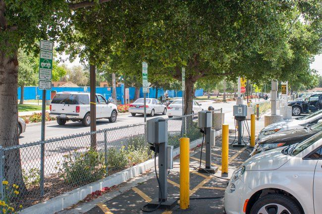 photo shows electric cars charging at csun