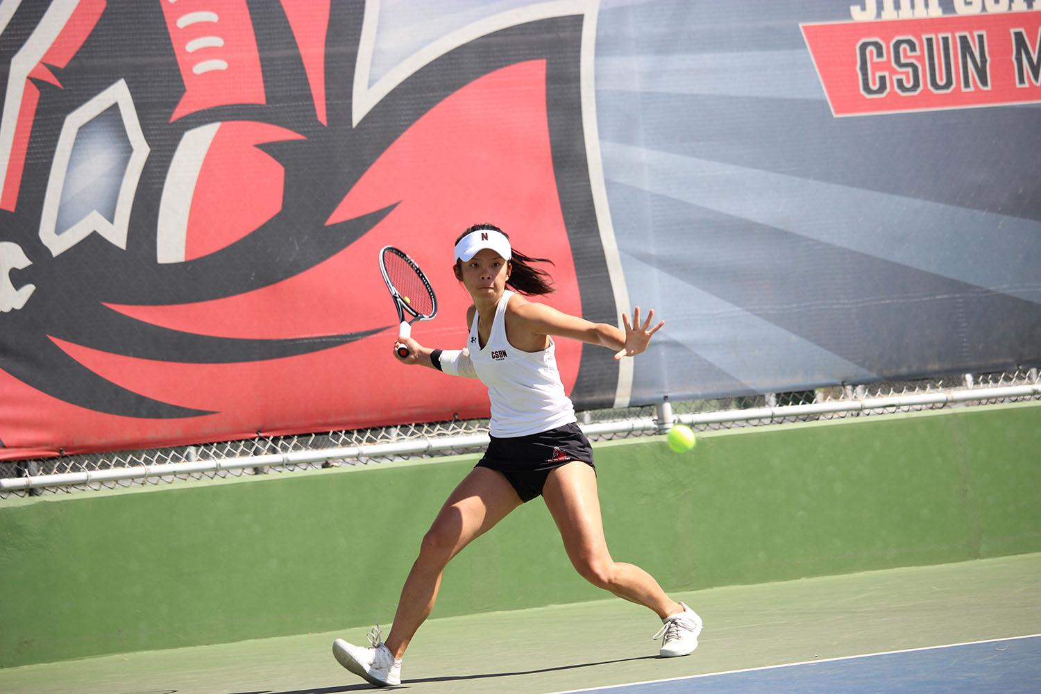 Women's tennis senior Mickey Hsu facing off against UCSB Junior Palina Dubavets in an unfinished match 3-6, 6-4, 0-3 April 2, 2017 at CSUN.