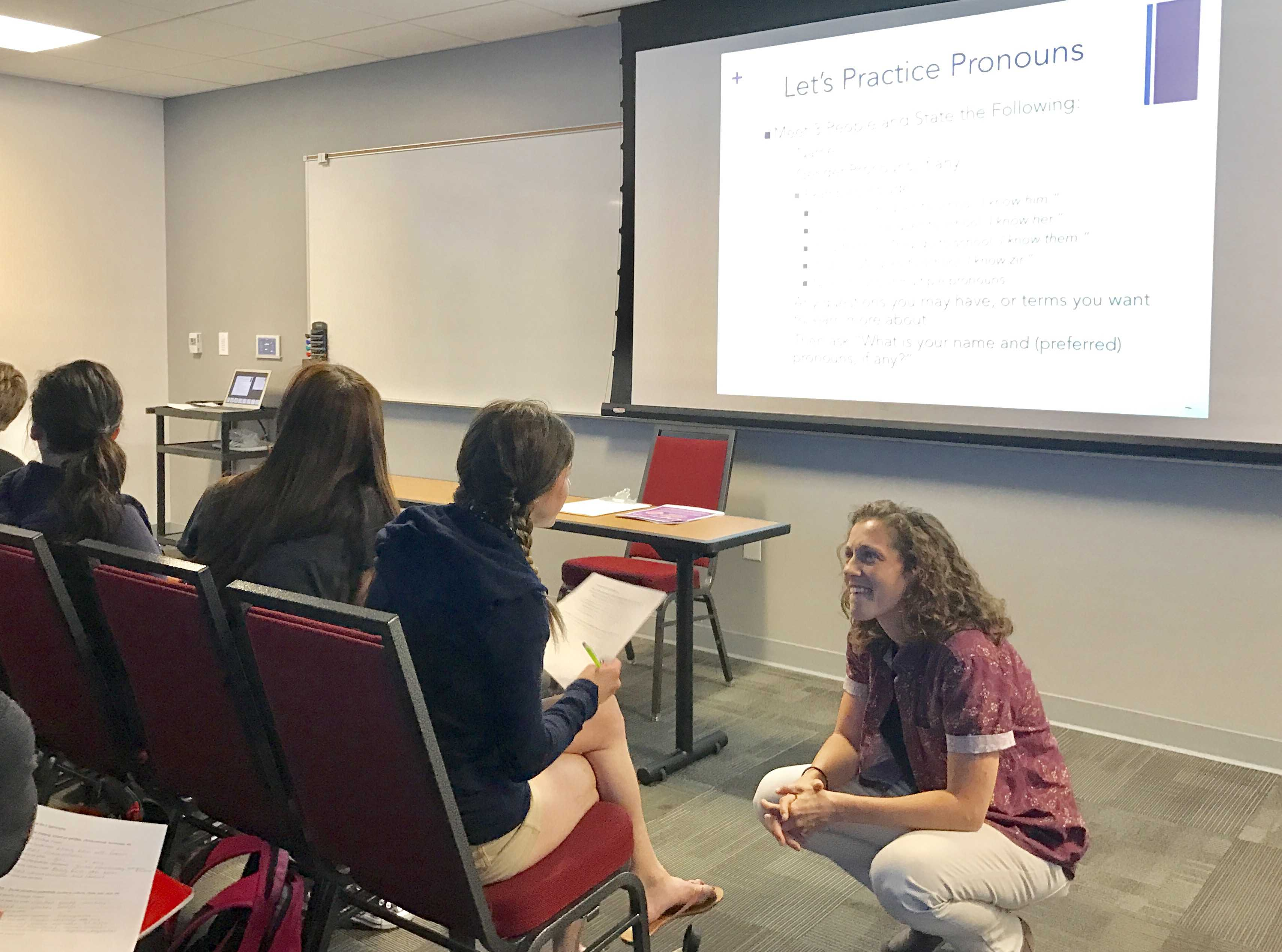 Students gather in the Panorama City Room in the USU to discuss the different types of identities and orientations in the LGBTQIA+ community. Photo credit: Sandra Say