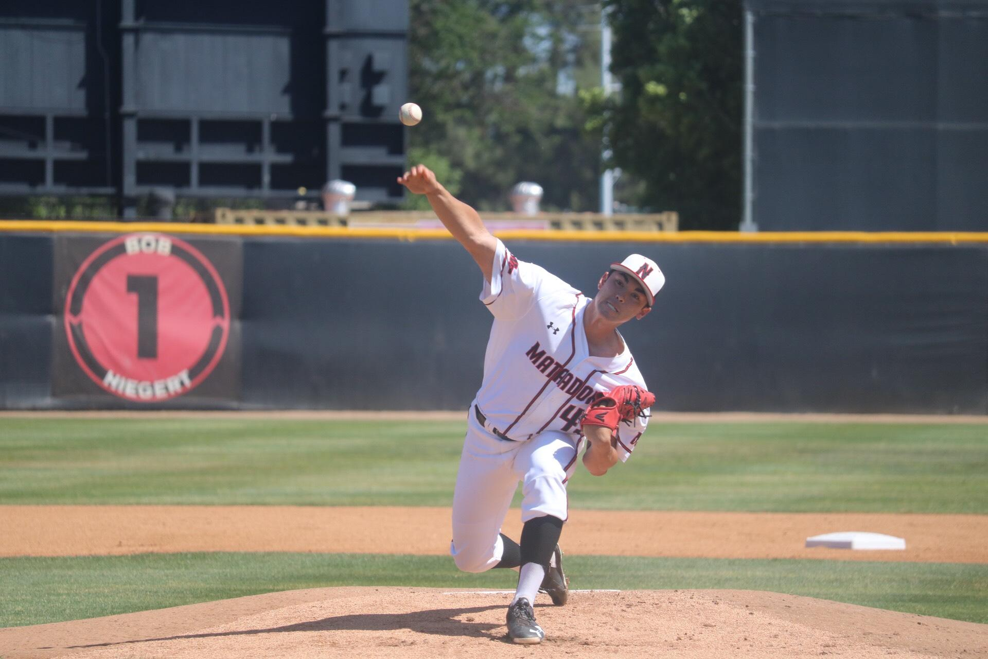 CSUN's junior right handed pitcher, Tei Vanderford, pitches in the game against the UC Riverside Highlanders on Friday, April 21, at the Matador Field. Photo credit: Lauren Valencia/ The Sundial