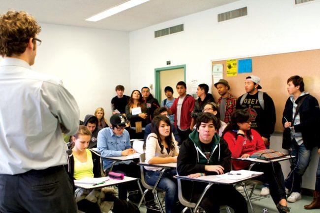 Robert Gressis pictured teaching philosophy 150