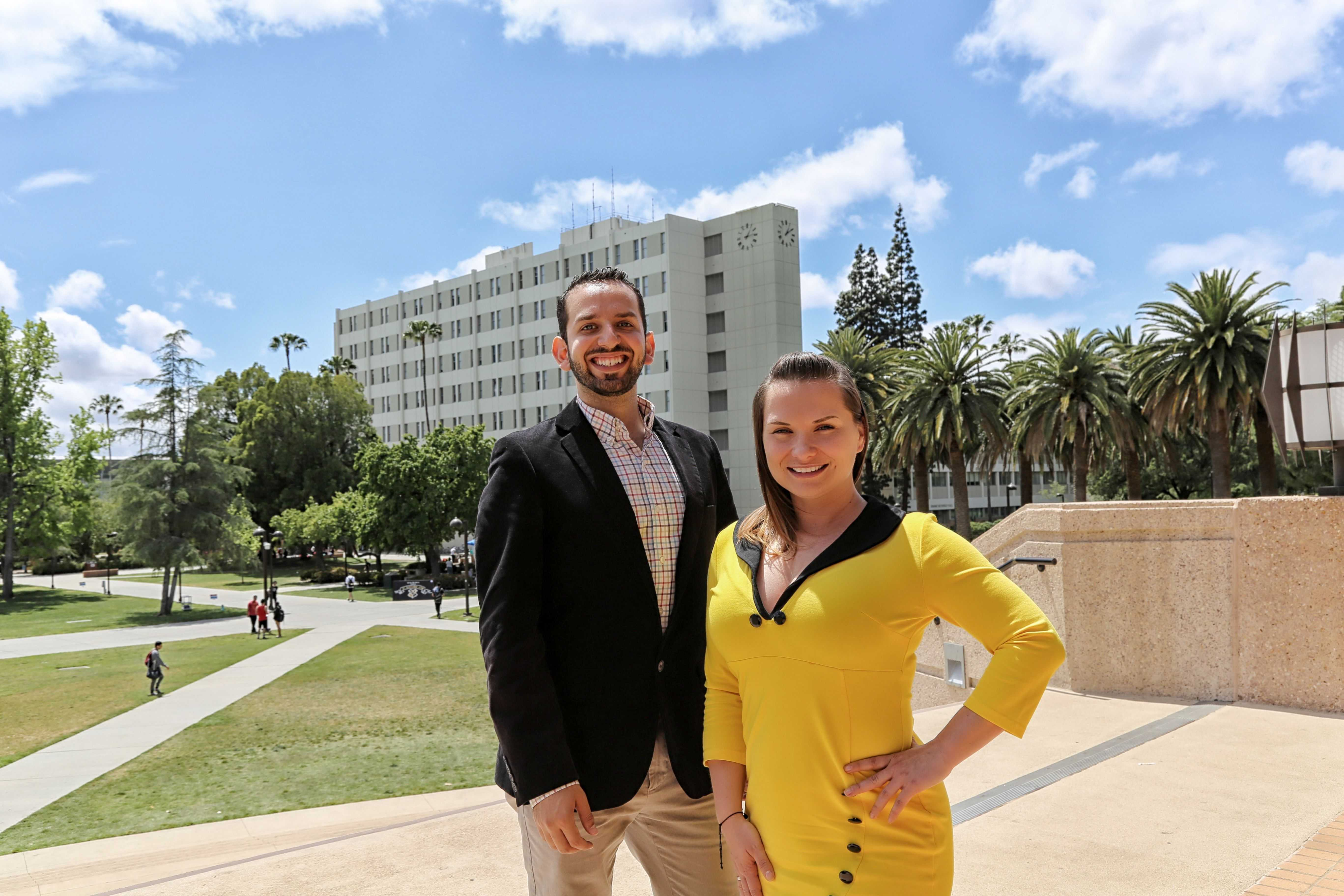 Ute and Alex pose for a photo in front of the Oviatt Library at CSUN Photo credit: Mercedes Mayers