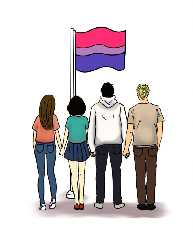 Illustration shows people standing in front of the bisexual pride flag which is pink, purple, and blue