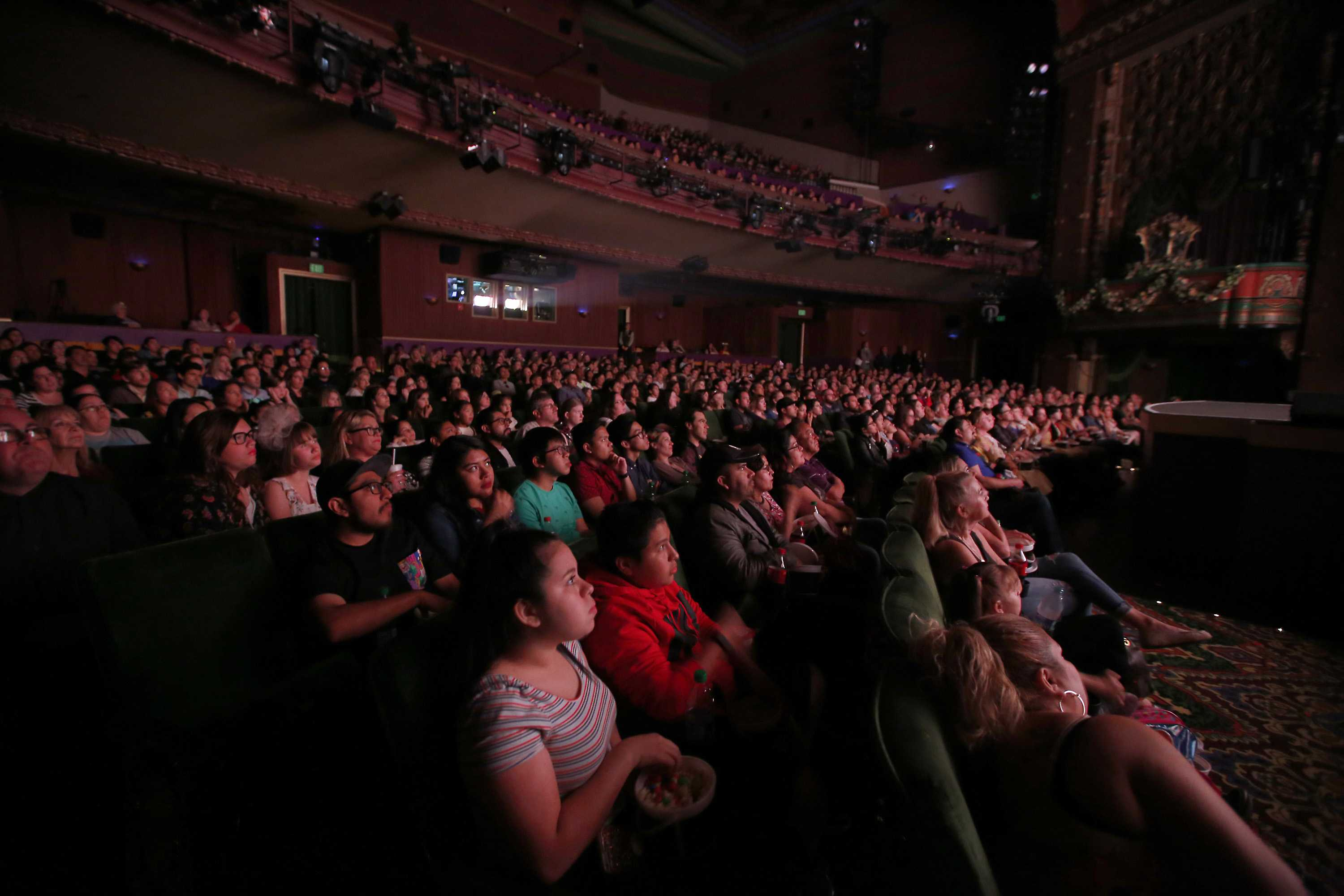 the El Capitain theater appears to be booked to capacity for the premiere of Beauty and the Beast