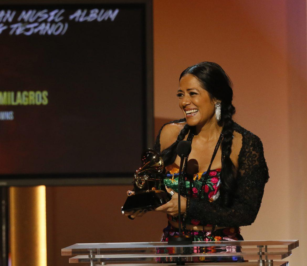Lila Downs accepts her Grammy for best regional Mexican music album during the 55th Annual Grammy Awards at Staples Center in Los Angeles, California, on Sunday, February 10, 2013. (Robert Gauthier/Los Angeles Times/MCT)
