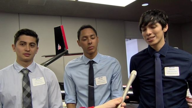 still from the interview with three csun engineering students at their senior design project showcase