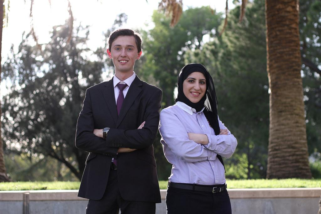 CSUN A Better Future candidates Jonathan Goldenberg(left) and Zahraa Khuraibeh(right) are the winning A.S. president and vice president for the 2017 Spring election. Photo credit: Nathalie Ramirez