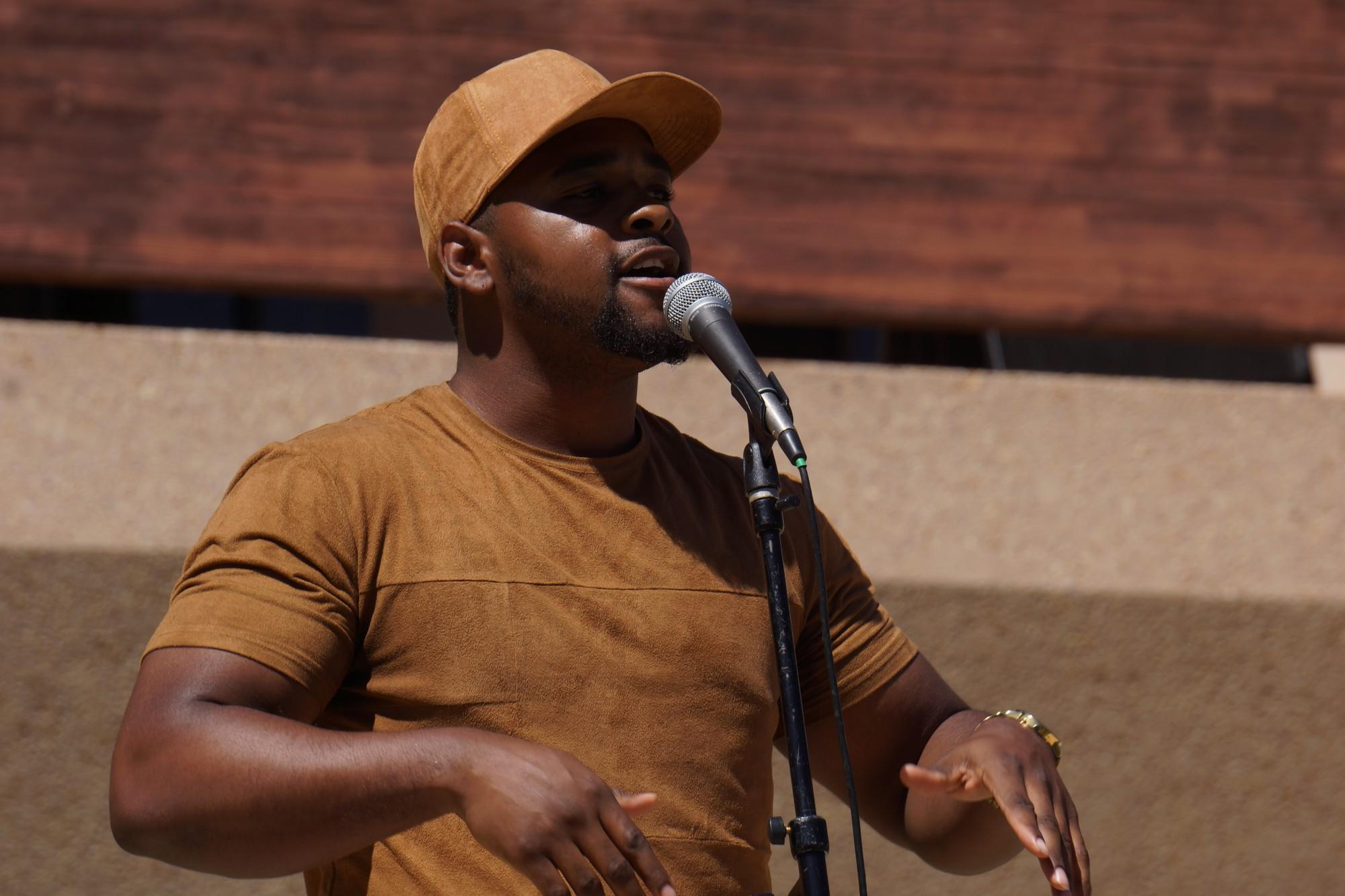 World Play, Caleb Word, 24, performing outside the Oviatt Library on April 20, 2017 for Poetry Palooza. The dream for Word, is to be on that