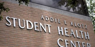 """side of building pictured, it says, """"Addie L Klotz Student Health Center"""""""