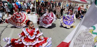 women participate in traditional mexican dance