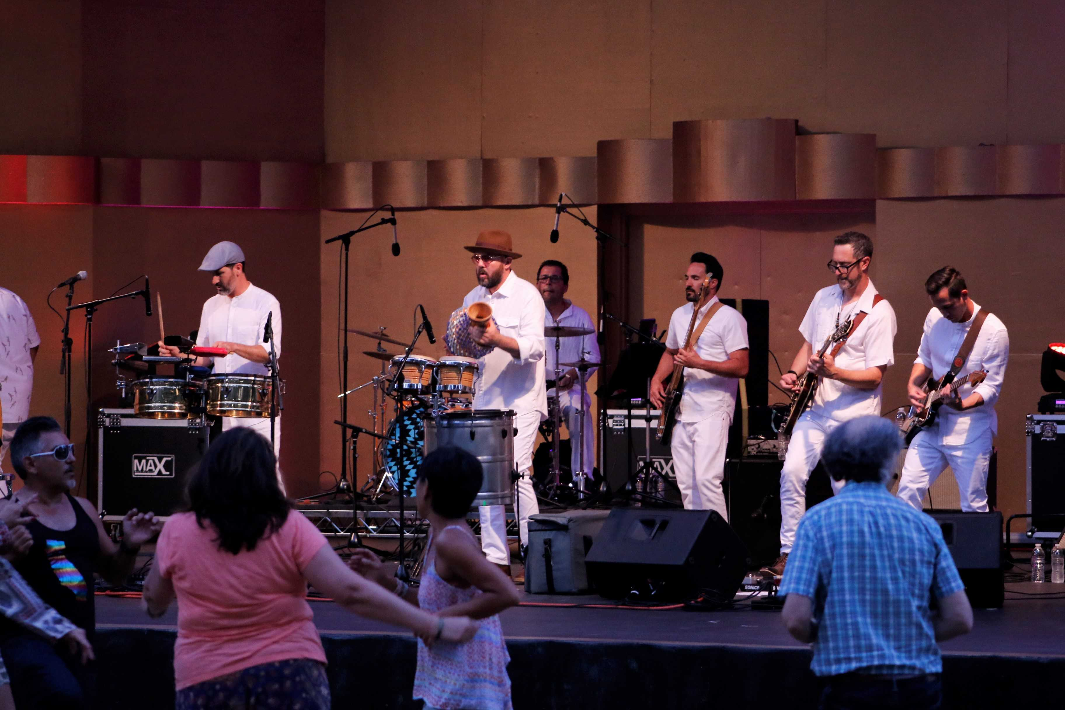 afro/latin funk band, Jungle Fire, performs on stage at The Levitt Pavilion on Saturday, July 22 Photo credit: Ivan Salinas