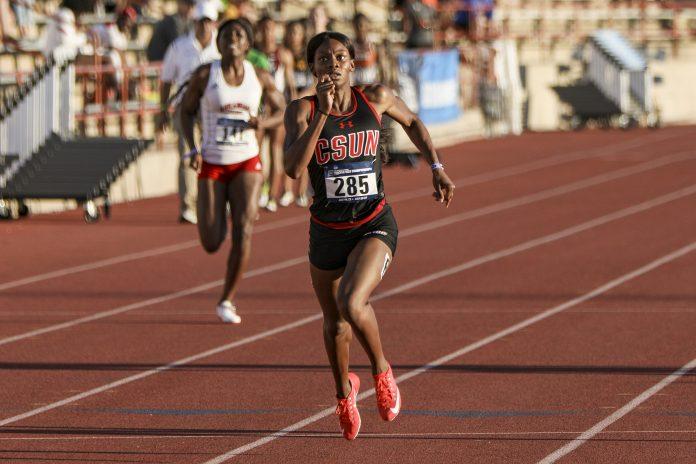 CSUN athlete pictured sprinting