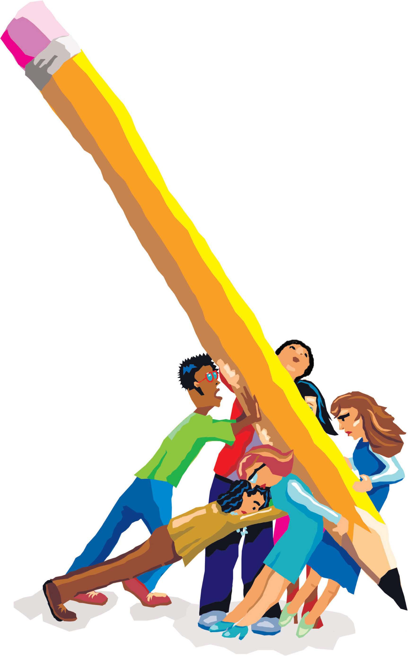 illustration of students struggling to lift a pencil