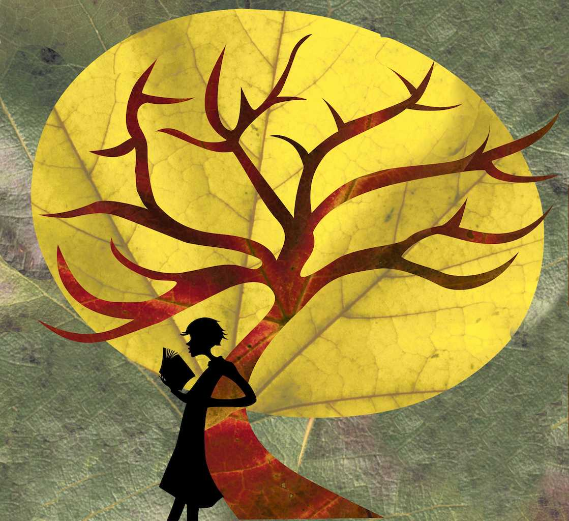 shadow of a woman reading a book while leaning against autumn colored tree thats surrounded by a yellow outline of the sun