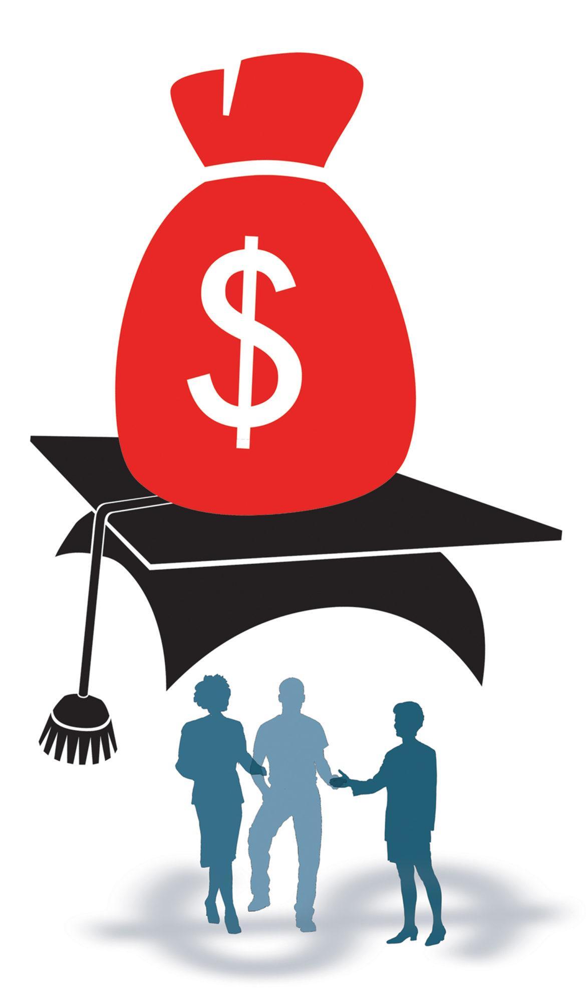 graphic shows a big money bag on top of a graduation cap