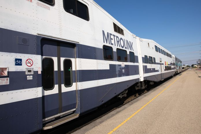Metrolink train departing