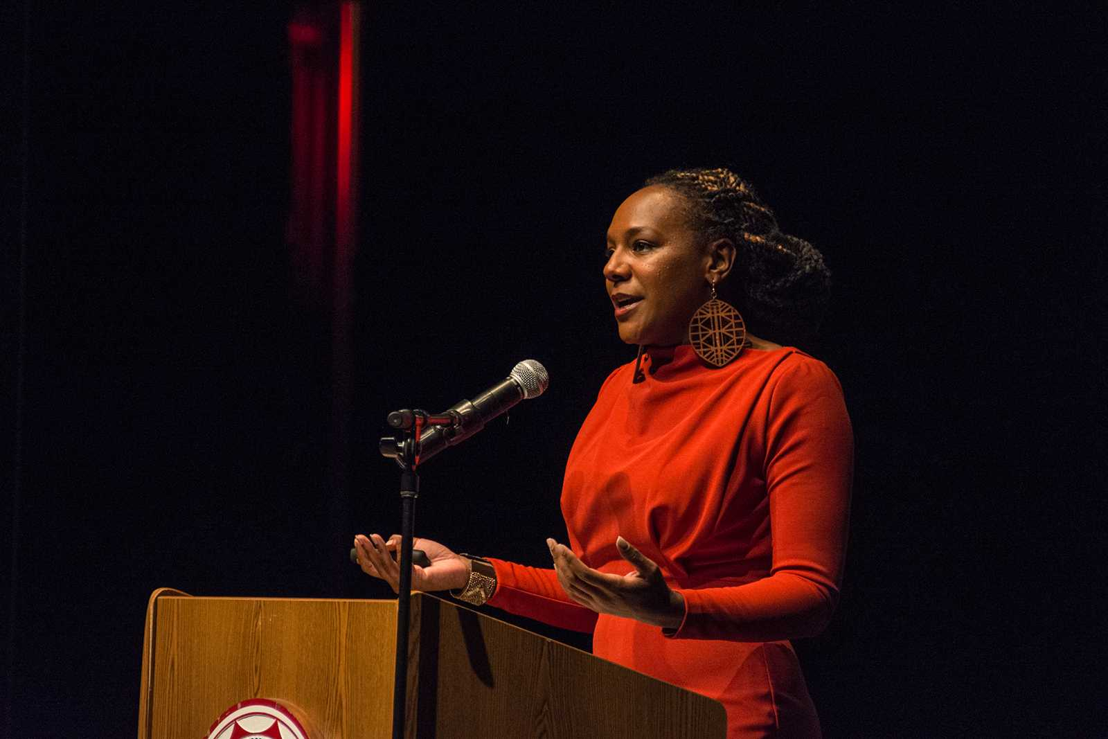 Bree Newsome Speaking to students about her actions in removing the confederate flag and reasons why she did it at CSUN Performance Hall. Photo credit: Alejandro Aranda