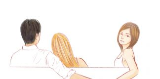 Illustration shows man with his arm around one girl and secretly holding hands with another girl
