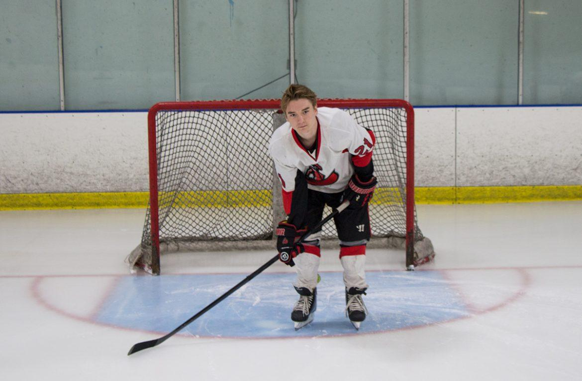 Breault+pictured+on+the+ice%2C+guarding+the+goal