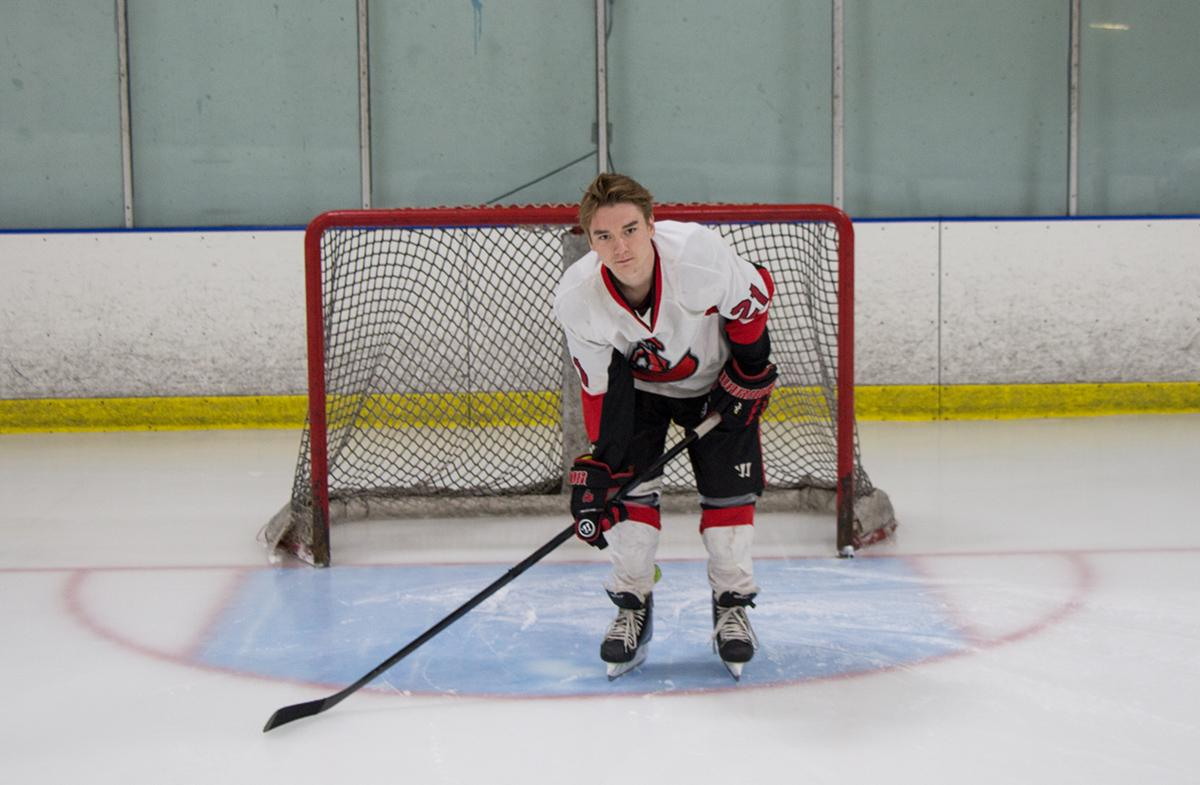 Breault pictured on the ice, guarding the goal