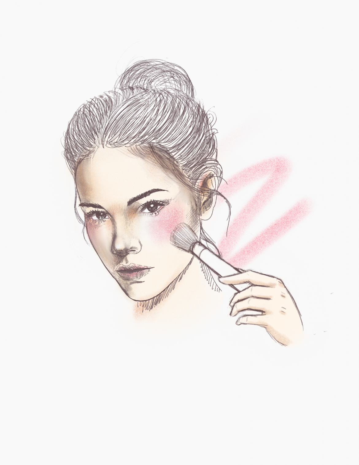 illustration shows a woman putting blush on