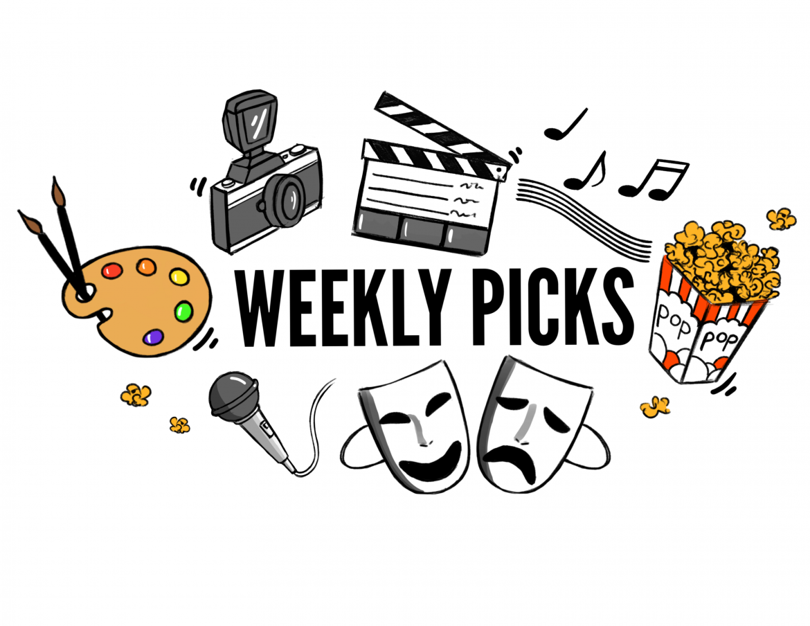 drawing with weekly picks written on it with various drawings around it