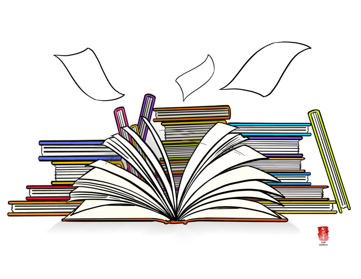 drawing of various books outlined in orange purple yellow and blue colors