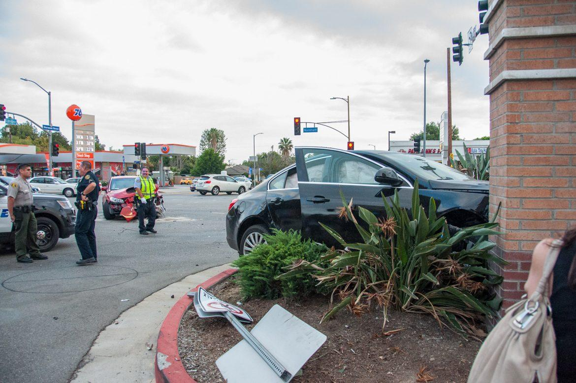Aftermath of the accident on Nordhoff and Lindley involving a red Subaru and a black Buick Photo credit: Nate Graham