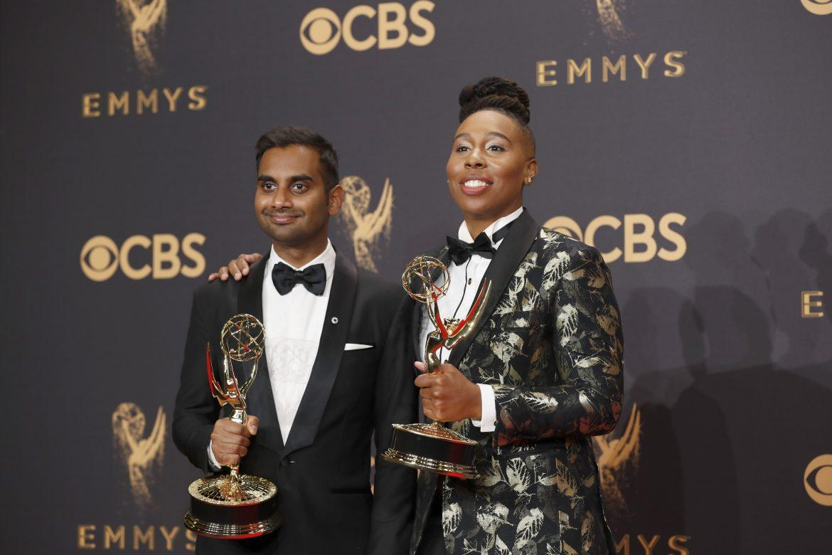 Aziz+Ansari+and+Lena+Waithe+in+the+Trophy+Room+at+the+69th+Primetime+Emmy+Awards+at+the+Microsoft+Theater+in+Los+Angeles+on+Sunday%2C+Sept.+17%2C+2017.+%28Allen+J.+Schaben%2FLos+Angeles+Times%2FTNS%29