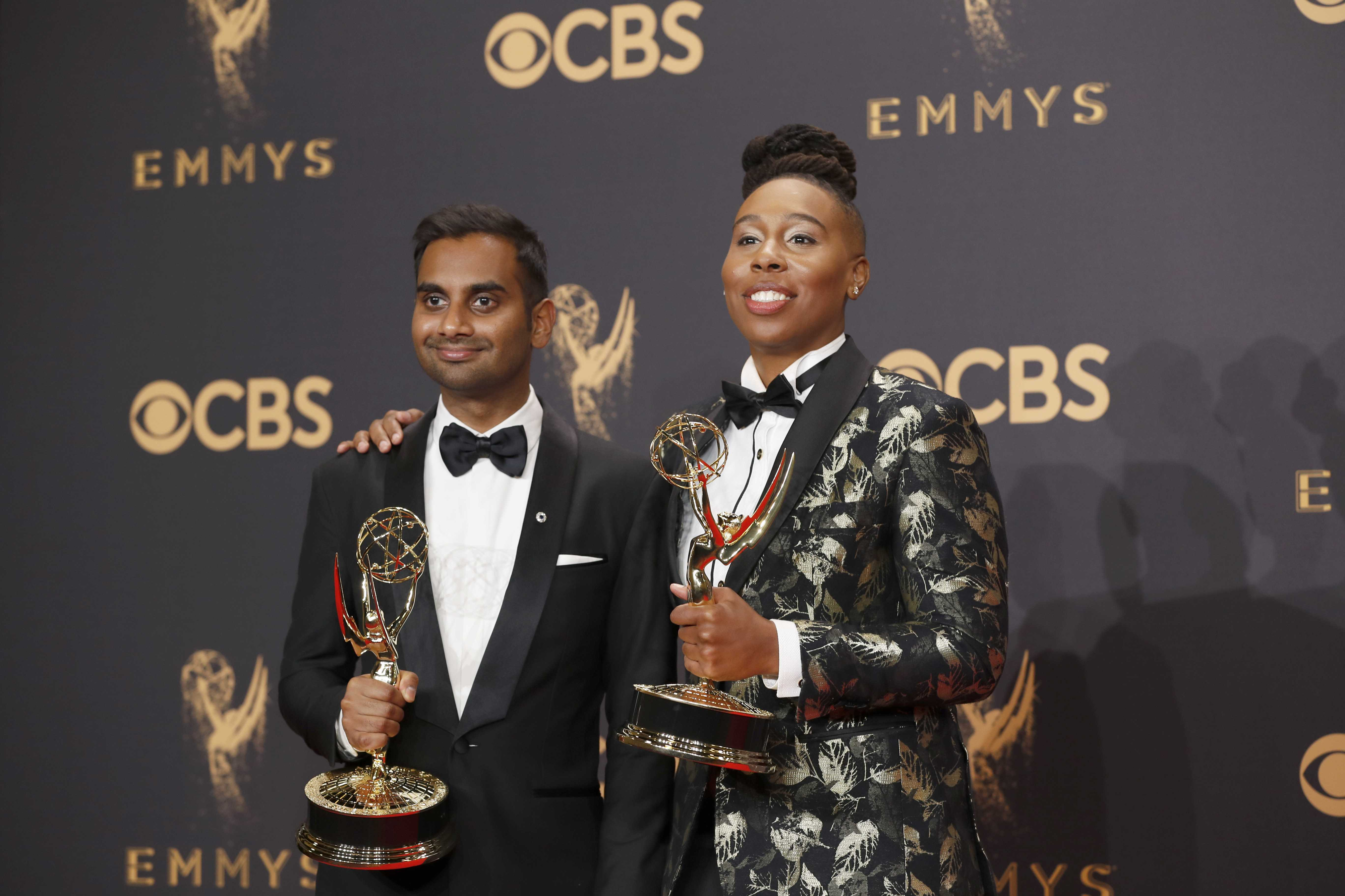 Aziz Ansari and Lena Waithe in the Trophy Room at the 69th Primetime Emmy Awards at the Microsoft Theater in Los Angeles on Sunday, Sept. 17, 2017. (Allen J. Schaben/Los Angeles Times/TNS)